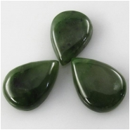 1 Nephrite Jade dark tear drop cabochon gemstone (N) Approximate size 13 x 18mm