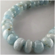 Aquamarine rondelle gemstone beads (N) Approximate size range 9.2 to 10.5mm 15.7 inch
