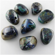 1 Azurite top side drilled 3mm big hole pendant gemstone bead (N) Approximate size range 17 x 22mm to 19 x 24mm