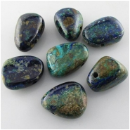 1 Azurite top side drilled 3mm big hole pendant gemstone bead (N) Approximate size range 15 x 25mm to 25 x 29mm