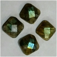 2 Labradorite AAA faceted rose cut square cabochon gemstones loose cut (N) Approximate size 8mm