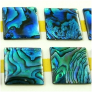 5 Abalone shell square cabochons (D) Approximate size 14mm square
