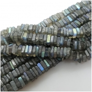 Labradorite Flat Square AAA Gemstone Beads (N) Approximate size 4.6 to 6.5mm 8 inches