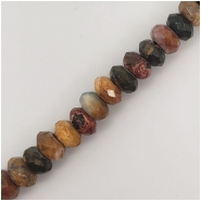 Red Creek Jasper Faceted Rondelle Big Hole Gemstone Beads (S) Approximate size 8mm 7.5 inches
