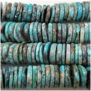 Hubei Turquoise Center Drilled Disc Gemstone Beads (S) Approximate size 11.3 to 12.1mm 5.25 inches