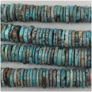 Hubei Turquoise Center Drilled Disc Gemstone Beads (S) Approximate size 12 to 14mm 5.25 inches