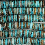 Hubei Turquoise Center Drilled Disc Gemstone Beads (S) Approximate size 13 to 13.9mm 5.25 inches