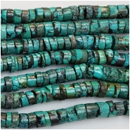 Turquoise Hubei Heishi Style Gemstone Beads (DS) Approximate size 6.2 to 8.6mm 15 to 15.5 inches