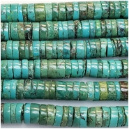 Turquoise Hubei Heishi Style Gemstone Beads (DS) Approximate size 8.2 to 8.8mm 15.25 to 15.5 inches