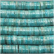 Turquoise Hubei Heishi Style Gemstone Beads (S) Approximate size 5.7 to 6.6mm 8 inches