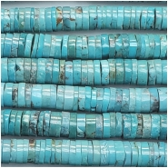 Turquoise Hubei Heishi Style Gemstone Beads (S) Approximate size 6.8 to 7.5mm 8 inches