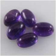 5 Amethyst oval cabochon loose cut gemstones (N) 4 x 6mm