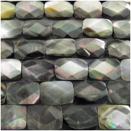 Black lip shell faceted doublet rectangle cushion gemstone beads Approximately 8 x 12mm 15.7 inch