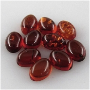 10 Amber Baltic oval loose cut cabochon gemstones (N,H) Approximate size 4.8 x 6.7mm to 5.2 x 7mm (5 x 7mm)