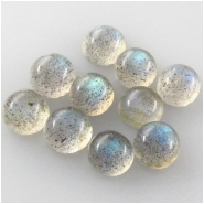 2 Labradorite round cabochon loose cut gemstones (N) Approximate size 4 to 4.6mm 2.5mm deep