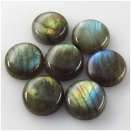 1 Labradorite round cabochon loose cut gemstone (N) Approximate size 14 to 15mm 5 to 6mm deep
