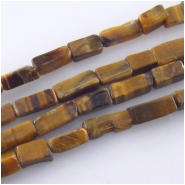 Tiger Eye B rectangle gemstone beads (N) Approximate size 3.5 x 5.5mm to 4.3 x 11.6mm 14.5 inch
