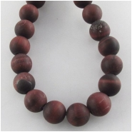 Tiger Eye Red matte finish round gemstone beads (N) Approximate size 7.8 to 8.2mm 16 inch 1mm hole