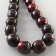 Pearls mahogany baroque round beads (D) Approximate size 9.6 x 9.8mm to 10.2 x 10.8mm 16 inch
