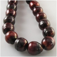 Pearls mahogany baroque barrel beads (D) Approximate size 9.9 x 9.9mm to 10.5 x 13mm 16 inch