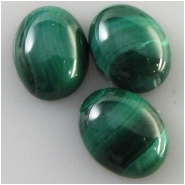 3 Malachite oval loose cut cabochon gemstones (N) Approximate size 7 x 9mm