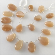 17 Moonstone peach graduated one direction drop briolette gemstone beads (N) Approximate size 8 x 11mm to 13 x 19mm