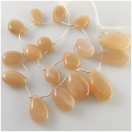 17 Moonstone peach graduated one direction drop briolette gemstone beads (N) Approximate size 8.5 x 13.8mm to 13 x 25mm