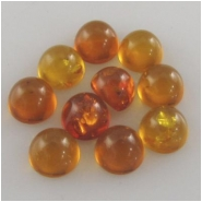 10 Amber round loose cut gemstone cabochons (N,H) Approximately 4.5 to 5mm