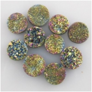 1 Titanium infused druzy round cabochon gemstone 7.5 to 8.5mm #1