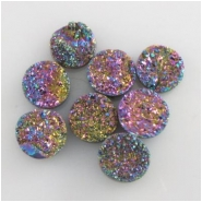 1 Titanium infused druzy round cabochon gemstone 7.5 to 8.5mm #2