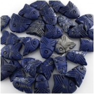4 Lapis carved rustic big hole fish pendant beads (N) Approximately 15 x 20mm to 24 x 25mm 1mm hole CLOSEOUT
