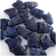 2 Lapis carved rustic big hole fish pendant beads (N) Approximately 18 x 25mm to 25 x 30mm 1mm hole CLOSEOUT