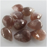 8 Moonstone chocolate faceted tear drop briolette gemstone beads (N) Approximate size 6.4 x 9mm to 6.9 x 9.9mm