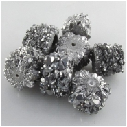 2 Druzy quartz silver infused barrel gemstone beads (E) Approximate size range 9 to 12mm long, 11 to 15mm diameter