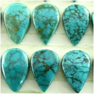 3 Turquoise Hubei tear drop cabochon gemstones loose cut (S) Approximate size 8 x 12mm