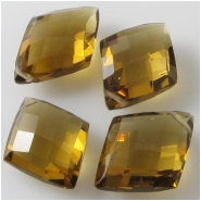 1 Cognac Quartz faceted puff diamond briolette gemstone bead (N) Approximate size 9 x 14mm to 12 x 15mm