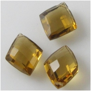 1 Cognac Quartz faceted puff diamond briolette gemstone bead (N) Approximate size 9 x 12mm to 11 x 13mm