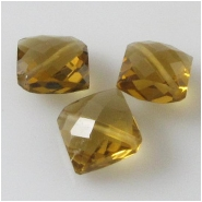 1 Cognac Quartz faceted puff diamond gemstone bead (N) Approximate size 9 x 10mm