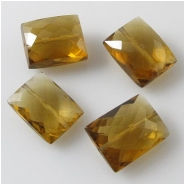1 Cognac Quartz faceted puff cushion gemstone bead (N) Approximate size 8 x 10mm to 9 x 12mm CLOSEOUT