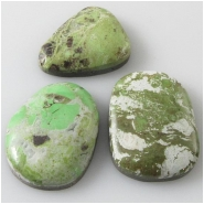 3 Gaspeite cabochon gemstones (S) Approximate size 16 x 20mm to 17 x 22mm