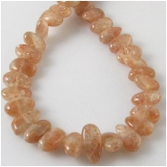 Sunstone flat center drilled graduated nugget gemstone beads (N) Approximate size 6 x 6mm to 6 x 12mm 16 inch