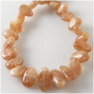 Sunstone flat center drilled graduated nugget gemstone beads (N) Approximate size 6 x 8mm to 7 x 18mm 16 inch