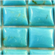 4 Turquoise Hubei rectangle cabochon loose cut gemstones (S) Approximate size 7 x 9mm x 2.3 to 3mm deep