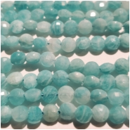 Amazonite Diamond Cut Faceted Coin Gemstone Beads (N) Approximate size 4.32 to 4.42mm, 7.75 inches