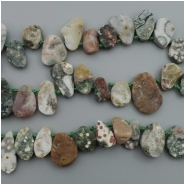 Ocean Jasper Rough Teardrop Top Drilled Gemstone Bead (N) Approximate size 7.94 x 13.93mm to 13.43 x 19.32mm, 4 inches