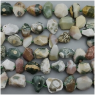 5 Ocean Jasper Faceted Nuggets AA Gemstone Bead (N) Approximate size 7.61 to 19.88mm x 11.29 to 21.19mm