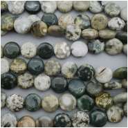 Ocean Jasper Coin Gemstone Bead (N) Approximate size 14.67 to 15.43mm, 15.75 inches