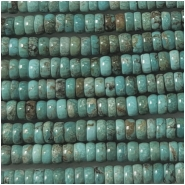 Turquoise Hubei Rondelle Gemstone Beads (S) Approximate Size 4 to 4.3mm 15.75 to 16 inches