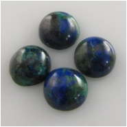 4 Azurite with malachite round loose cut gemstone cabochons (S) Approximately 8mm   CLOSEOUT