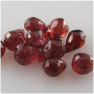10 Garnet faceted tear drop briolette gemstone beads (N) Approximate size range 2.9 x 5mm to 3.8 x 5.9mm Top side drilled   CLOSEOUT
